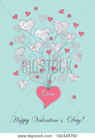 Festive romantic card with doodle drawing floral hearts word love Happy Valentine`s Day for Valentine Day romantic holidays save the date wedding honeymoon. eps10