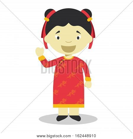 Character from China dressed in the traditional way Vector Illustration. Kids of the World Collection.