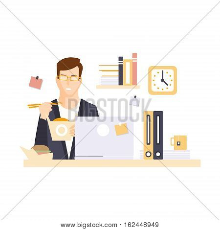 Man Office Worker In Office Cubicle Eating Lunch Having His Daily Routine Situation Cartoon Character. Vector Primitive Illustration With Company Employee At His Desk.