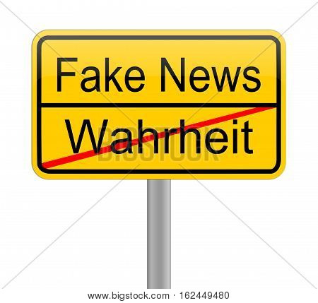 yellow Fake News sign - in german