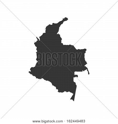 Republic of Colombia map silhouette on the white background. Vector illustration