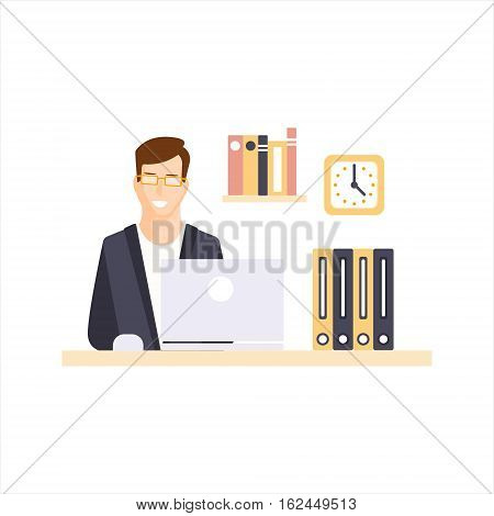Happy Man Office Worker In Office Cubicle Having His Daily Routine Situation Cartoon Character. Vector Primitive Illustration With Company Employee At His Desk.