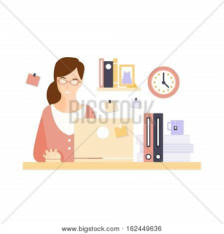 Content Woman Office Worker In Office Cubicle Having Her Daily Routine Situation Cartoon Character. Vector Primitive Illustration With Company Employee At Her Desk.