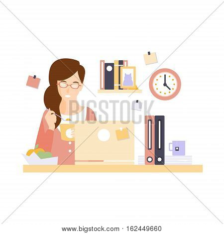 Woman Office Worker Eating Lunch In Office Cubicle Having Her Daily Routine Situation Cartoon Character. Vector Primitive Illustration With Company Employee At Her Desk.