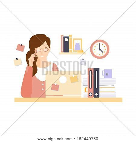 Thinking Woman Office Worker In Office Cubicle Having Her Daily Routine Situation Cartoon Character. Vector Primitive Illustration With Company Employee At Her Desk.