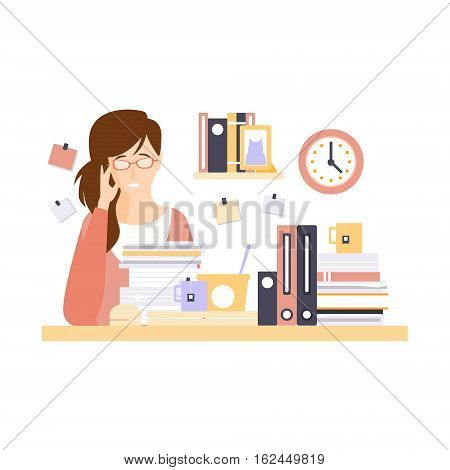 Woman Office Worker In Office Cubicle With Too Much Work Having Her Daily Routine Situation Cartoon Character. Vector Primitive Illustration With Company Employee At Her Desk.
