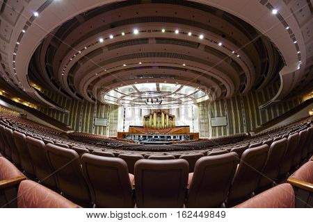 Salt Lake City, Usa - October 23, 2016: Interior Of The 21,000 Seat Lds Conference Center Auditorium