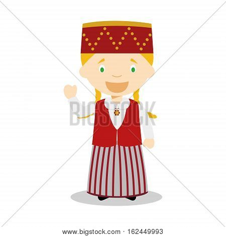 Character from Estonia dressed in the traditional way Vector Illustration. Kids of the World Collection.