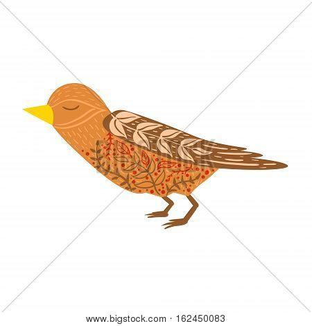 Cuckoo Bird Relaxed Cartoon Wild Animal With Closed Eyes Decorated With Boho Hipster Style Floral Motives And Patterns. Flat Vector Forest Peaceful Fauna Illustration With Hand Drawn Artistic Ornamental Elements.