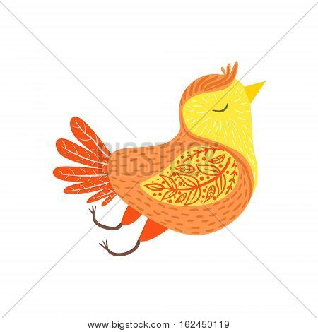 Singing Bird Relaxed Cartoon Wild Animal With Closed Eyes Decorated With Boho Hipster Style Floral Motives And Patterns. Flat Vector Forest Peaceful Fauna Illustration With Hand Drawn Artistic Ornamental Elements.
