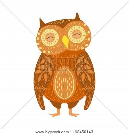 Owl Relaxed Cartoon Wild Animal With Closed Eyes Decorated With Boho Hipster Style Floral Motives And Patterns. Flat Vector Forest Peaceful Fauna Illustration With Hand Drawn Artistic Ornamental Elements.