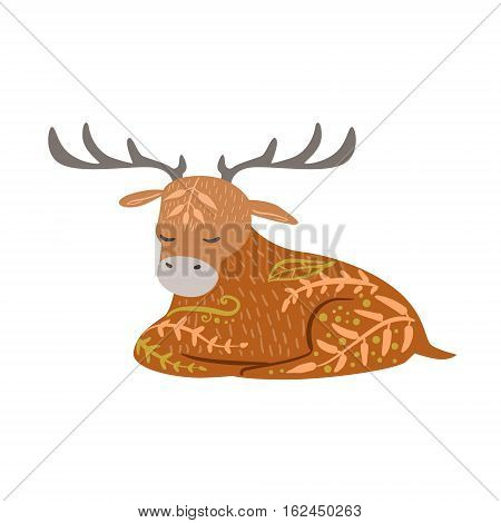Moose Relaxed Cartoon Wild Animal With Closed Eyes Decorated With Boho Hipster Style Floral Motives And Patterns. Flat Vector Forest Peaceful Fauna Illustration With Hand Drawn Artistic Ornamental Elements.