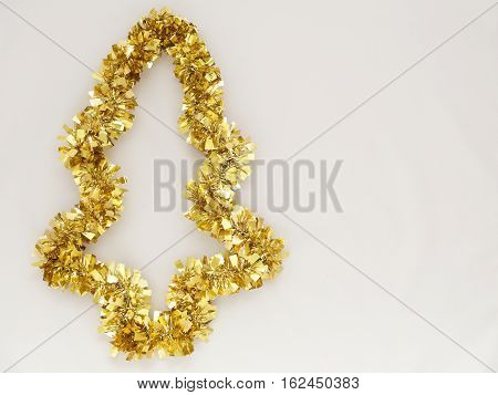 Gold glitter Christmas rainbow isolated on white background