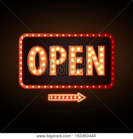 Neon Sign Open. Vintage Electric Signboard