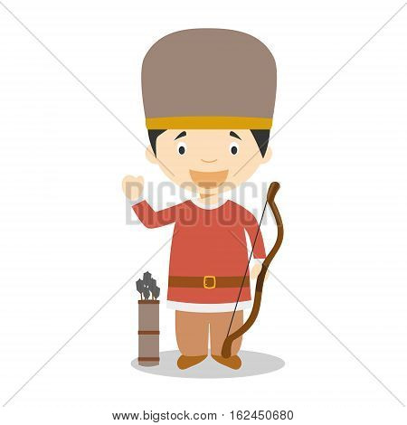 Character from Hungary dressed in the traditional way as a magyar warrior. Vector Illustration. Kids of the World Collection.