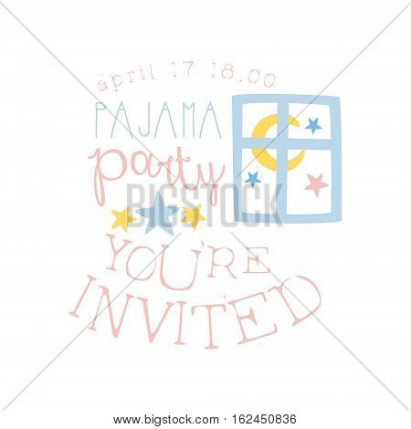 Girly Pajama Party Invitation Card Template With Night Window Inviting Kids For The Slumber Pyjama Overnight Sleepover. Stencil For The Welcome Postcard With Night And Bed Symbols In Pastel Colors.