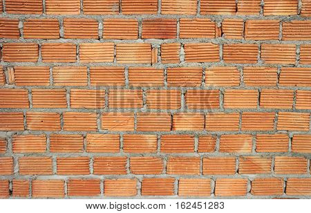 Red Brick Wall with Mortar Background Texture