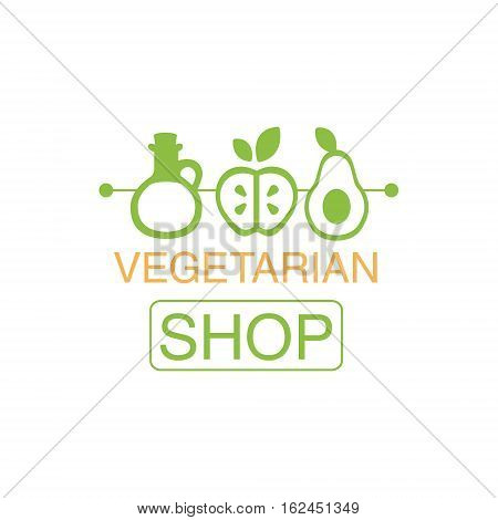 Vegan Natural Food Green Logo Design Template With Oil, Avocado And Oil Promoting Healthy Lifestyle And Eco Products. Fresh Bio Vegetables And Vegetarian Diet Vecto Label With Text.