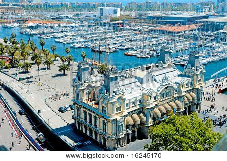 Aerial view of Port Vell and Maremagnum, in Barcelona, Spain poster