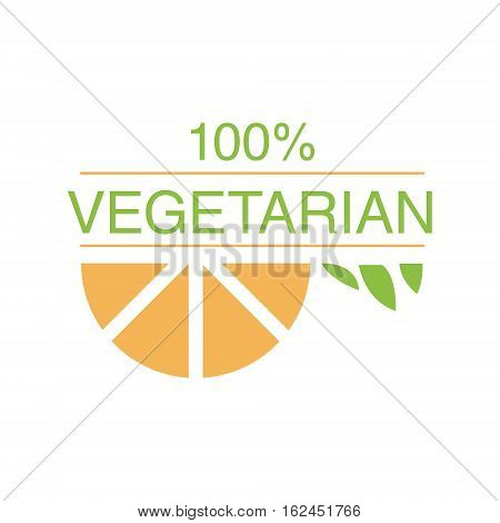 Vegan Natural Food Green Logo Design Template With Orange Slice Promoting Healthy Lifestyle And Eco Products. Fresh Bio Vegetables And Vegetarian Diet Vecto Label With Text.