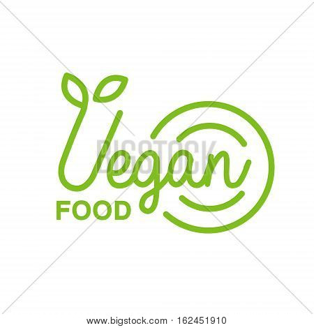 Vegan Natural Food Green Geometric Logo Design Template Promoting Healthy Lifestyle And Eco Products. Fresh Bio Vegetables And Vegetarian Diet Vecto Label With Text.