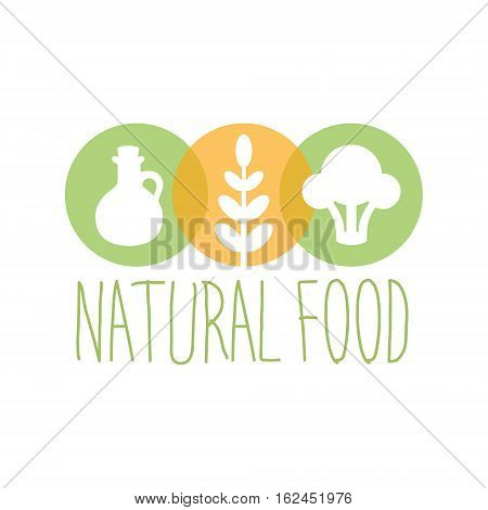 Vegan Natural Food Green Logo Design Template With Broccoli, Oil And Wheat Promoting Healthy Lifestyle And Eco Products. Fresh Bio Vegetables And Vegetarian Diet Vecto Label With Text.