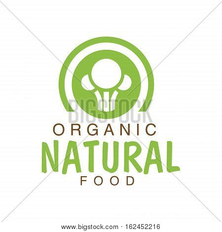Vegan Natural Food Green Logo Design Template With Broccoli SilhouettePromoting Healthy Lifestyle And Eco Products. Fresh Bio Vegetables And Vegetarian Diet Vecto Label With Text.