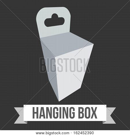 Blank paper hanging box. Packaging container with hanging hole. Mock up template. Vector illustration on black background.
