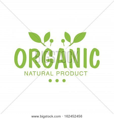 Vegan Natural Food Green Logo Design Template With Plants Promoting Healthy Lifestyle And Eco Products. Fresh Bio Vegetables And Vegetarian Diet Vecto Label With Text.