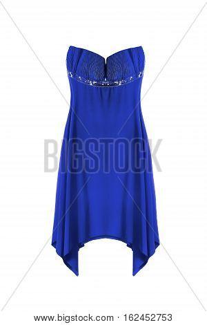 Blue silk strapless dress on white background