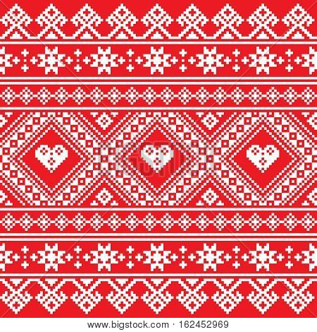Traditional Ukrainian or Belarusian folk art white embroidery pattern on red