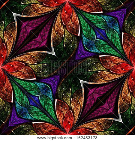 Multicolored fractal pattern in stained-glass window style. You can use it for invitations notebook covers phone case postcards cards wallpapers and so on. Artwork for creative design art and entertainment.