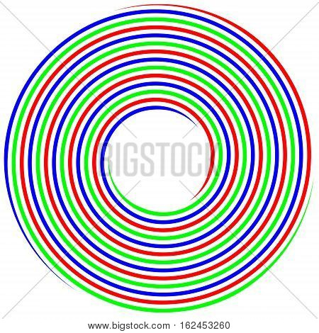 RGB spiral concept of the photo shoot, the triple helix with RGB colors, vector template conceptual solutions of the logo