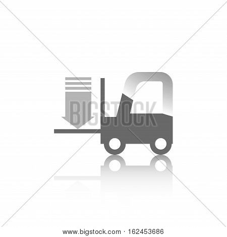 Icon For Construction Site Forklift With Arrow On White Background