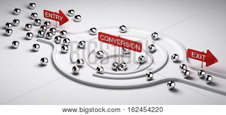 3D illustration of a conversion funnel with entry and exit Business or Marketing concept of leads to sales ratio horizontal image.