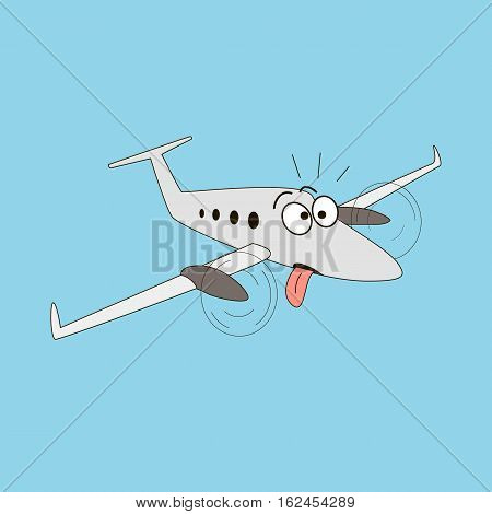 Cartoon style turboprop airplane on a sky background. Dazed and amazed two engine aircraft with rolling eyes and protruding tongue. Chocking, exhausted, mad, crasy, crazy, tired. Vector illustration