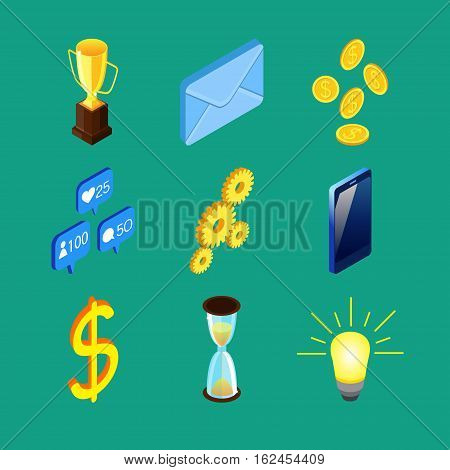 Set of nine vector colorful isometric icons. Prize cup, envelope, golden coins, social networks notifications, gears, cell phone, dollar sign, sandglass, light bulb.