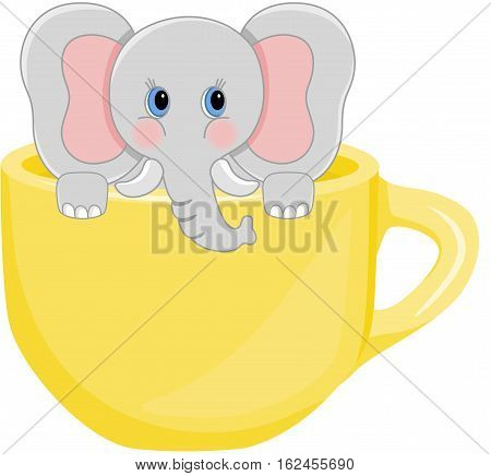 Scalable vectorial image representing a baby elephant in yellow teacup, isolated on white.