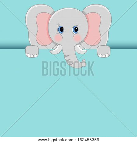 Scalable vectorial image representing a baby elephant peeking out.