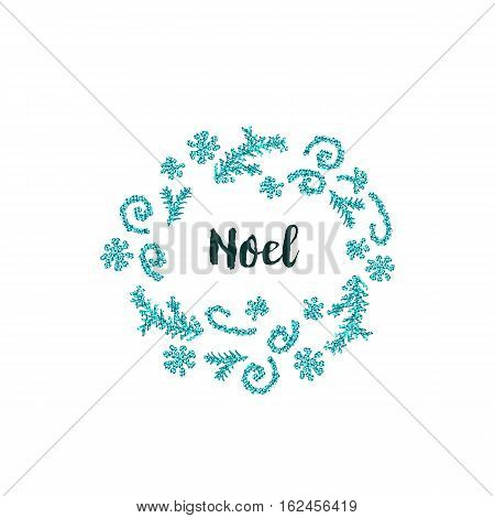 Christmas greeting card on white background with blue elements and text Noel