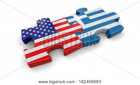 3D Illustration. USA and Greece puzzle from flags. Image with clipping path
