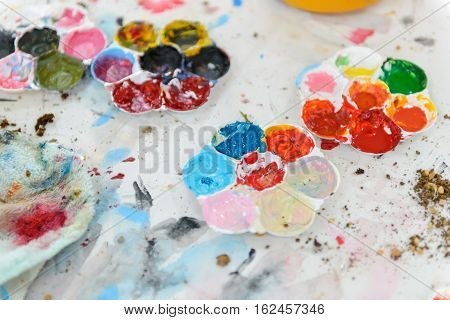 Dirty Art Palette With Paint