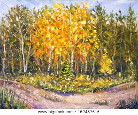 Original oil painting of road in a summer forest on canvas. Modern Impressionism Art. Artwork.