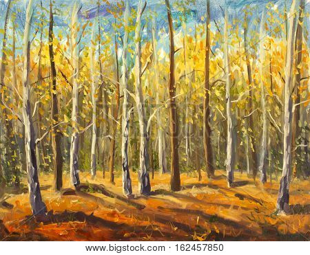 Original oil painting of beautiful autumn forest on canvas. Modern Impressionism Art. Artwork.