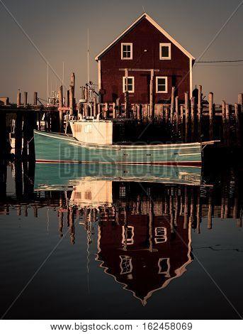 Fishing harbor and boats in Nova Scotia Canada