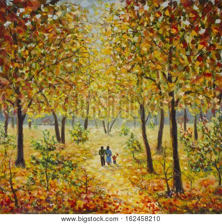 Original oil painting of family walk in the autumn park on canvas. Modern Impressionism Art. Artwork.