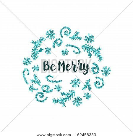 Christmas greeting card on white background with blue elements and text Be Merry