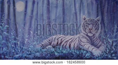 Original oil painting of portrait of a tiger in the forest at night on canvas. Modern Impressionism Art. Artwork.
