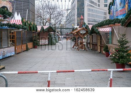 Berlin Germany - december 20, 2016: The crime scene at Christmas Market in Berlin the day after the terrorist attack.