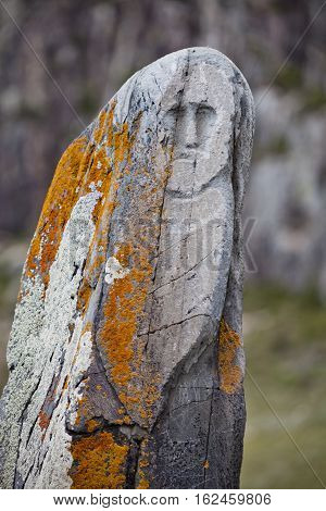 Stone warrior (VI-IX centuries AD) from archaeological sites in the Altai - the sanctuary of Adyr-Kahn